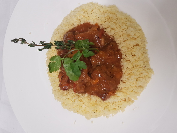 Quebec Lamb ''navarin'' mediterranean style with organic fresh tomatoes